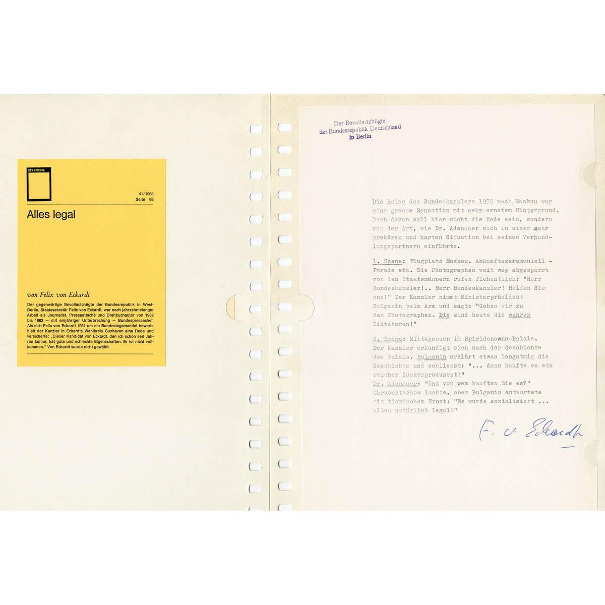 KONRAD ADENAUER - Briefesammlung